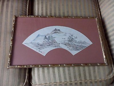 antique framed chinese fan painting signed