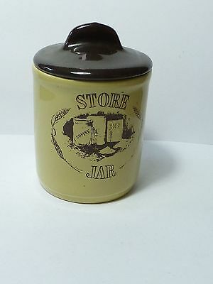 Vintage C & E Cartwright & Edwards Pottery Storage Jar With Brown Lid