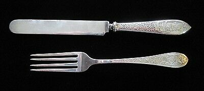 Antique Sterling Silver Repousse Fork and Knife 78.3g