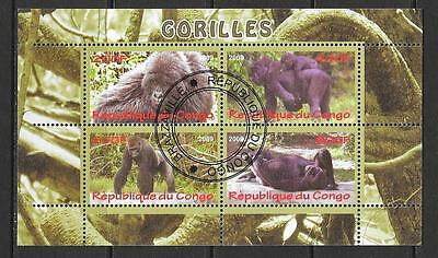 2009 Congo Gorillas miniature sheet that is cancelled to order