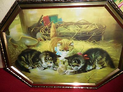 VINTAGE antique VICTORIAN KITTENS PLAYING in BARN FRAMED PRINT old *very cute*!