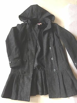 Girls Coat Size 9-10 Years Pleated End School Coat Long Jacket Detachable Hood
