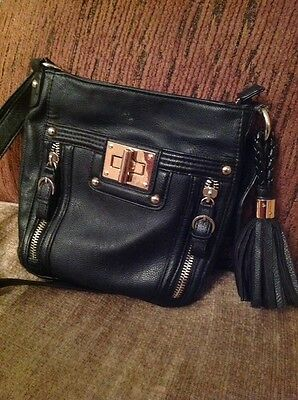 M&S black faux leather handbag shoulderbag. - 03113271