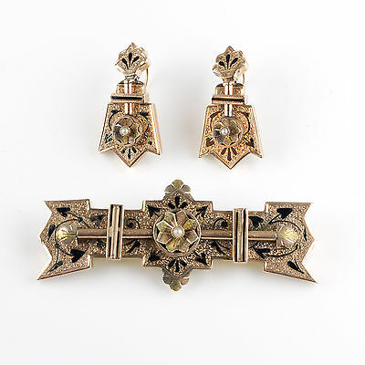 Antique Victorian 14K Gold Enamel Pearl Bar Pin & Earrings Set Excl Cond EP833