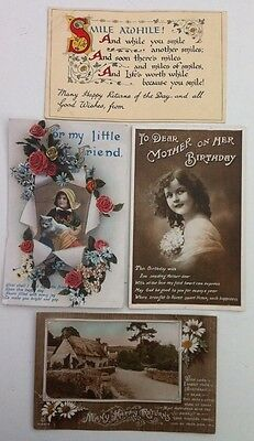 4 Birthday Postcards early 1900's