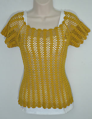 Vintage 70's Mustard Yellow Handmade Crocheted Layering Blouse Size S