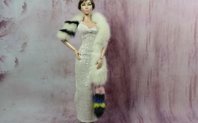 ~Cream and Colorful Mink fur Wrap w Tail  for Sybarite, Sydney dolls~by dimitha~