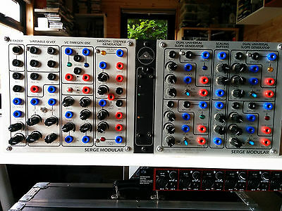 Serge modular synth. Creature and Quadslope with boat and power.