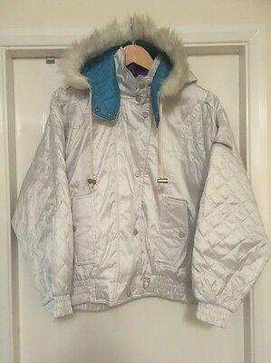 Size 12 Rodeo C&A Vintage Silver Ski Jacket Coat Fur Hood Immaculate Used Once