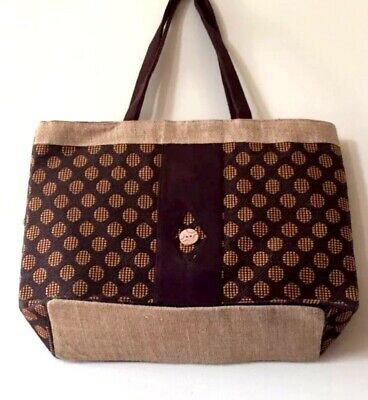 """French Country Shabby Napoleonic /""""Paris Bee/"""" Shoulder Tote Cotton /& Jute NWT"""