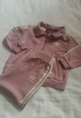 baby girls pink adidas tracksuit age 12months *