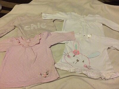4 Baby Girls Long Sleeved Tops 3-6 Months