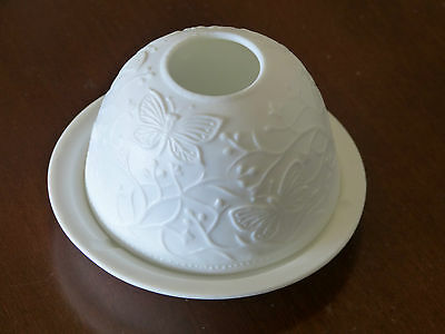 Mint! Pretty White Porcelain Candle Holder With Butterflies!
