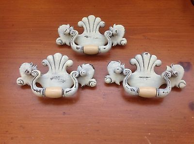 365 Vintage French Provincial Swing Pulls Ivory Wash 3 Available,Shabby Chic!