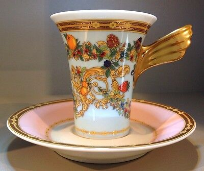 """Versace Rosenthal """"Le Jardin des Papillon/Versace"""" Cup and Saucer, Unused Boxed"""