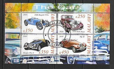 2010 Malawi Cars miniature sheet that is cancelled to order