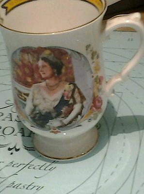 Commemorative 80th Birthday of Queen Mother 1980 Staffordshire Bone Chine Cup