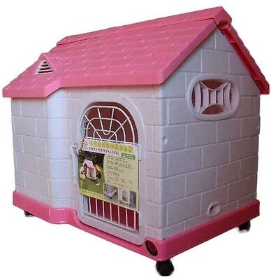 NEW Plastic Air Vent Pet Dog Cat House Kennel  + Wheel (#085) - Pink