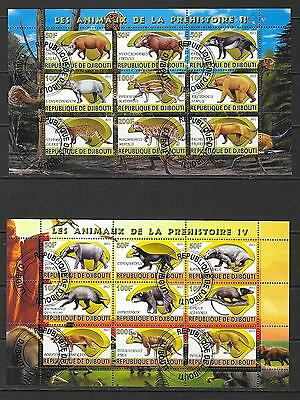 2011 Djibouti 2 miniature sheets featuring prehistoric animals that are CTO