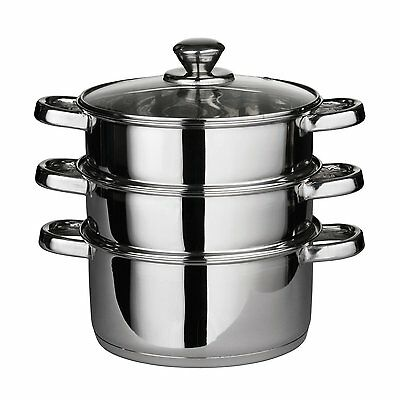 3 Tier Steamer with Glass Lid Stainless Steel 22cm Pot Cook Meat Vegetables Hob