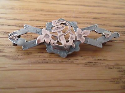 Vintage Antique Navy Sweetheart Pin Brooch Chester Hallmark - Two Tone