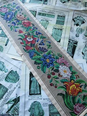 Long Antique Hand Painted Berlin Woolwork Chart- Floral Border