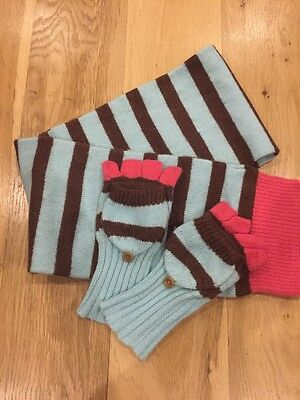 Girl's Mini Boden Duck Egg Blue/brown Tripe Scarf & Mittens - Look!!!