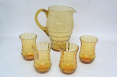 Beautiful vintage 30s/40s amber glass jug and glasses