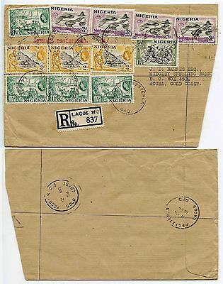 NIGERIA to GOLD COAST REGISTERED LARGE RING SKELETON CANCELS ACCRA RC5 1954