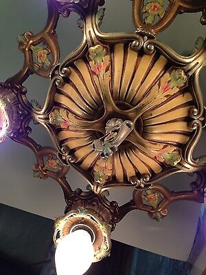 Beautiful Art Deco And Floral Painted Welsbach Antique Chandelier - Restored!