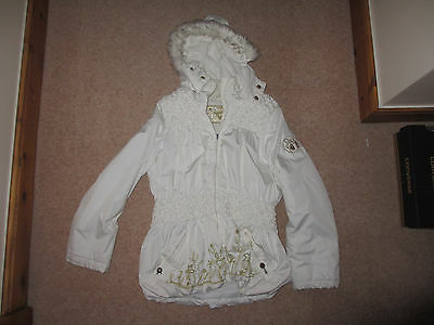 Pampolina Coat 128 approx age 8 years Cream and gold