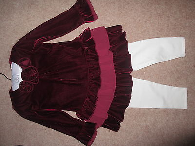 Bnwt Fao Schwarz Outfit For Xmas Red Velvet Top & Matching White Leggings Age 3T