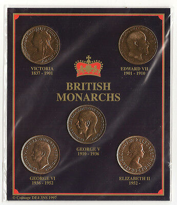 Collection of pennies from five British Monarchs 5 pennies Victoria - QE2