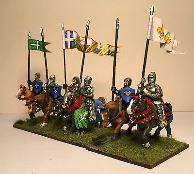 28mm French Medieval Knights - 6 - Painted - Metal