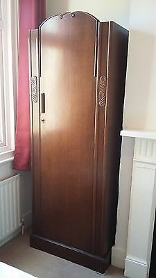 Small single door oak wardrobe, with decorative features, made by CWS Ltd London