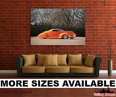 Wall Art Canvas Picture Print - 1939 Lincoln Zephyr Style Concept Orange 3.2