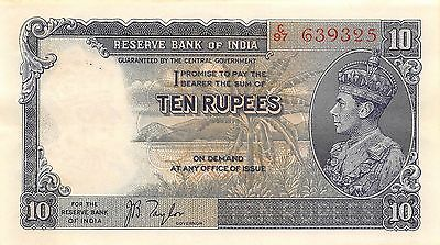 India 10 Rupees ND. 1937 P 19a  Uncirculated Banknote , G. 1C