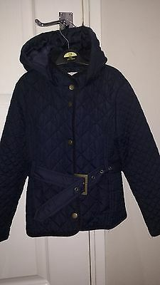 M & S girls navy jacket with hood age 7