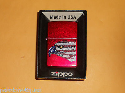 New Zippo Windproof Lighter American Eagle Lighter Candy Apple Red W/Box Papers