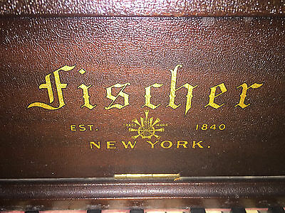 Antique Fischer Upright Player Piano + Bench + Over 120 Player Music Rolls