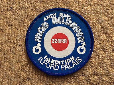 Vintage 1981 NORTHERN SOUL MOD Patch Badge ANDY RUW's MOD ALLDAYER Ilford Palais