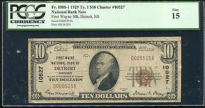1929 $10 First Wayne Nb Of Detroit, Mi National Currency Ch. #10527 Pcgs F-15