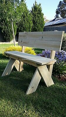 Timber Wooden Outdoor Garden Bench Seat with back (CUSTOM MADE)