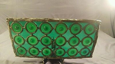 19th Century Emerald Green Rondels Leaded Stained Glass Window