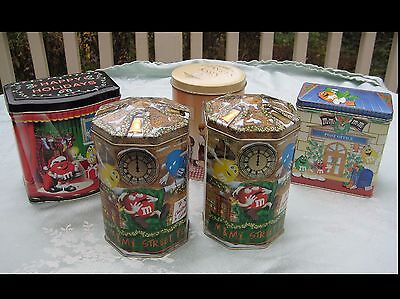 Collection of 5 Original M&M's & Hershey's Christmas Holiday Collectible Tins