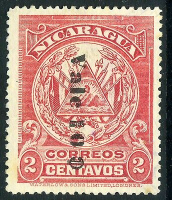 Nicaragua 1907 Waterlow 10¢/2¢ Rose Type 2  Reading Down (1.5mm)  Mint   E245