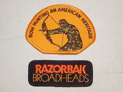 LOT of 2 ARCHERY PATCHES Bow Hunting An American Heritage & Razorbak Broadheads