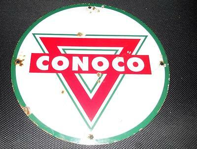 Conoco Gasolene Oil Gas Station Pump Plate Porcelain Enamel Metal Sign