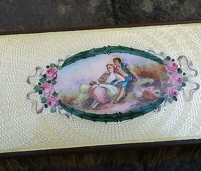 Antique Victorian ROSES & RIBBONS Guilloche Yellow Enamel Hand Mirror & Brush