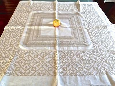 "Antique Italian Assisi Hand Embroidered Ecru 46"" Tablecloth Centerpiece Topper"